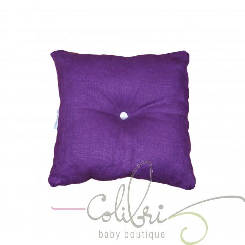 Декоративная подушка с пуговицей сиреневая violette