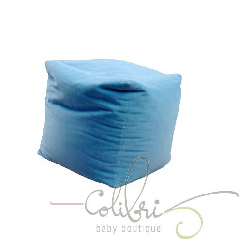 ТР пуф велюровий куб блакитний