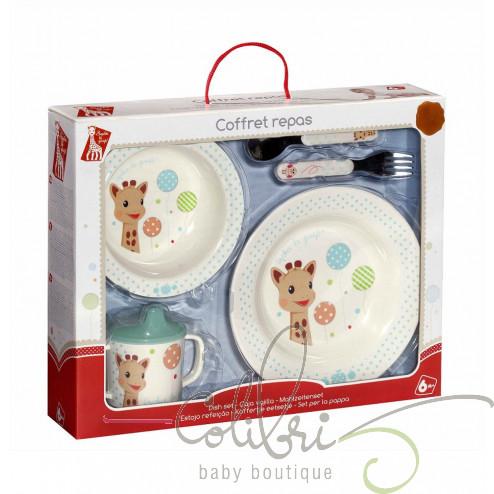 Жирафа Софі набір посуду (тарілка, глибока тарілка, чашка-непроливайка, столові прибори)