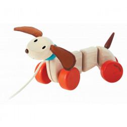 Деревянная игрушка каталка счастливый щенок