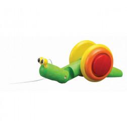 Деревянная игрушка Каталка-улитка