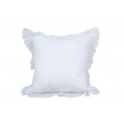 Декоративная подушка белая с вышивкой flanelle