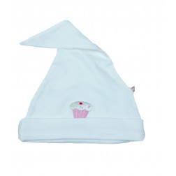 Белая шапочка с розовым пирожным