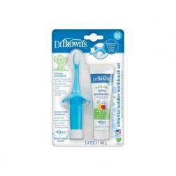 Комплект: детская зубная паста и зубная щетка, цвет голубой