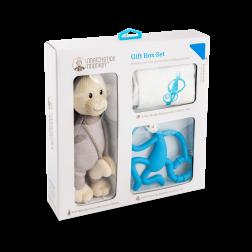 Подарунковий набір Blue (100% орган. пелюшка Muslin 70*70, проріз. 14 см, іграшка 30см)