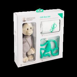 Подарунковий набір Green (100% орган. пелюшка Muslin 70*70, проріз. 14 см, іграшка 30см)