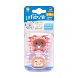 Пустышки ПриВент™ с принтом животных для девочки (Медведь и обезьяна), 6-18 мес, 2 шт. в упаковке