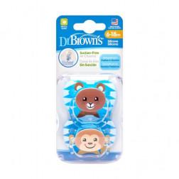 Пустышки ПриВент™ с принтом животного для мальчика (Медведь и обезьяна), 6-18 мес, 2 шт. в упаковке