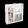 Подарунковий набір Grey (100% орган. пелюшка Muslin 70*70, проріз. 14 см, іграшка 30см)