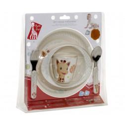 Жирафа Софі набір посуду (тарілка, глибока тарілка, чашка, столові прибори)